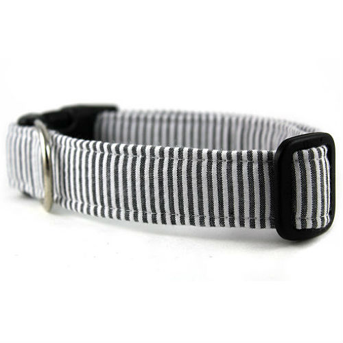 Seersucker Dog Collar - Charcoal