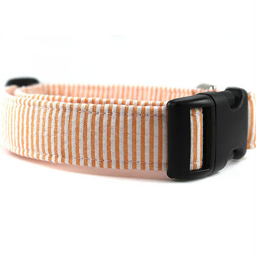 Seersucker Dog Collar - Tangerine