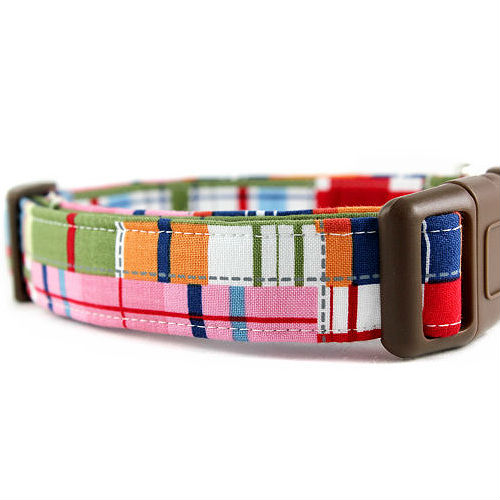 Madras Plaid Dog Collar