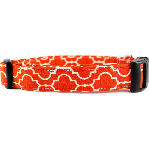 "Orange ""Tiles"" Dog Collar"