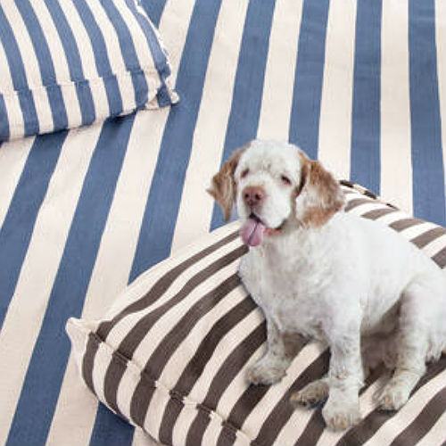 A WOUFs Dog Bed - Denim & Ivory Stripes