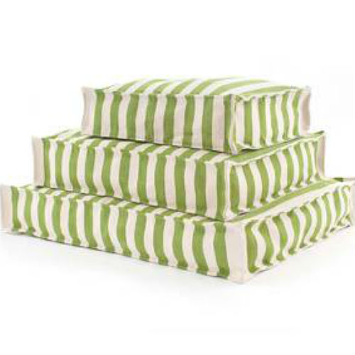 A WOUFs Dog Bed - Sprout Green & Ivory Stripes