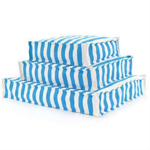 A WOUFs Dog Bed - Turquoise & White Stripes