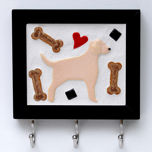 Custom Tile Leash Hook / Yellow Lab