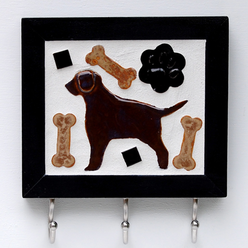 Custom Tile Leash Hook / Chocolate Lab
