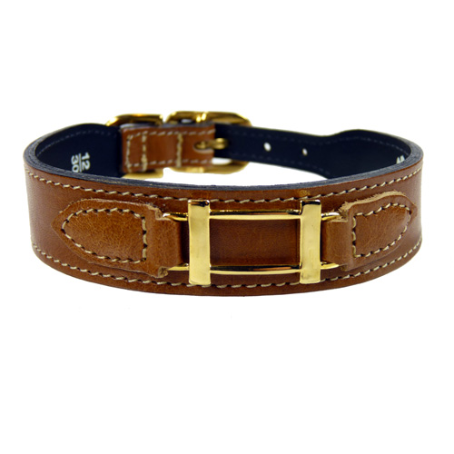 Brown & Gold Hermes-Style Collar & Leash