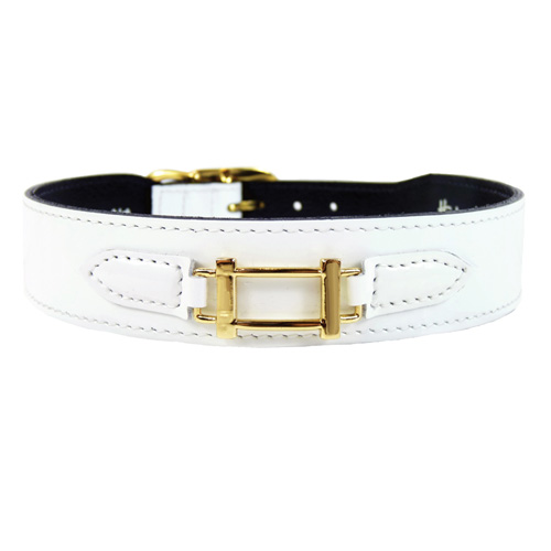 Hermes-Style Collar & Leash White Patent Leather