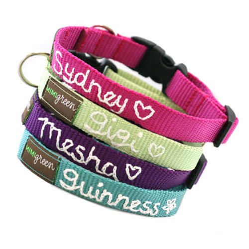 Personalized Webbing Dog Collar in 18 Colors