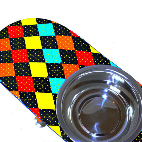 Skateboard Elevated Pet Bowl Diamond