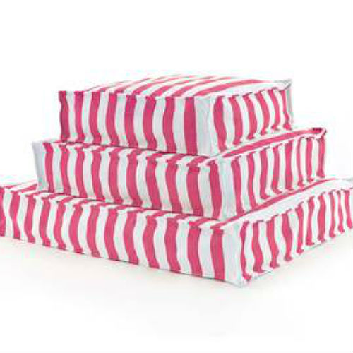 A WOUFs Dog Bed - Fuchsia & White Stripes