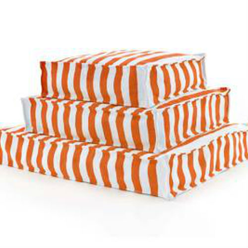 A WOUFs Dog Bed - Tangerine & White Stripes